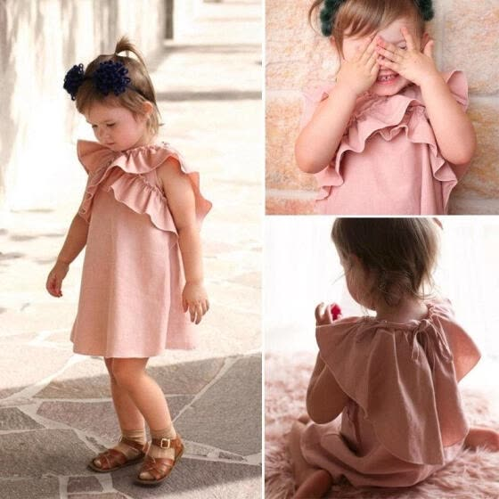 Fashion Toddler Kids Baby Girls Ruffle Princess Dress Clothes Casual Outfits Summer 3M-4T
