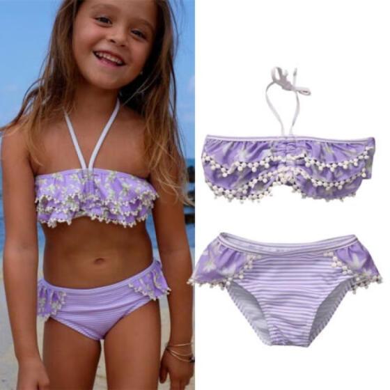 Floral Kid Baby Girl Tankini Swimsuit Costume Swimwear Beachwear Bikini 2pcs UK