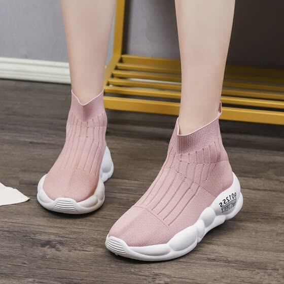 Autumn small white shoes, high-top mesh breathable sneakers, summer running socks and tide shoes