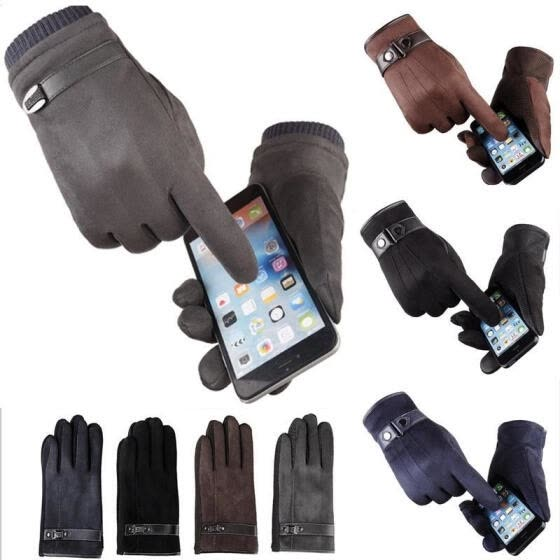 USA Men Women Winter Warm Suede Leather Fleece Lined Touch Screen Driving Gloves