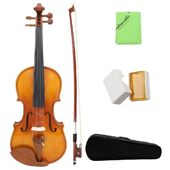 Full Size 4/4 Natural Acoustic Solid Wood Spruce Flame Maple Veneer Violin Fiddle for Beginner Student Performer  Jujube Wood Part