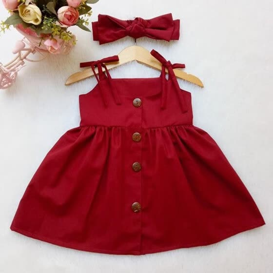 Summer Toddler Baby Girls Party Dress Sleveless Sundress Clothes Age 1-6 Years