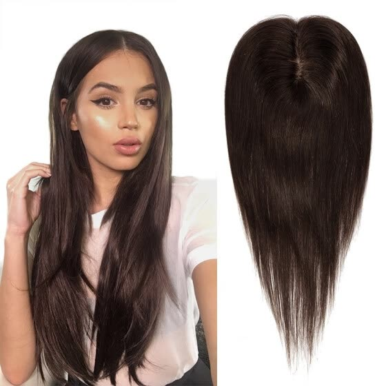 12 inch Hair Toppers for Women Human Hair 100% Remy One Piece Clip in Topper d8e15c2703
