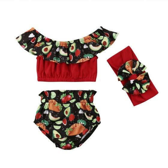 Cute 3PCS Toddler Kids Baby Girls Fruit Floral Crop Tops Shorts Outfits Clothes Set