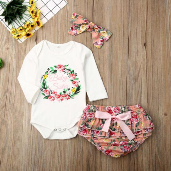 Newborn Infant Baby Girl Floral Clothes Jumpsuit Romper Sunsuit Pants Outfits US