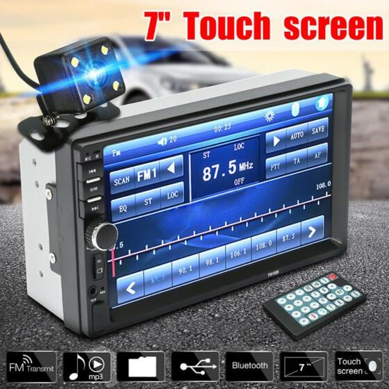 7/'/' 2Din Touch Screen Car MP5 Player Bluetooth Stereo FM Radio HD Rear Camera
