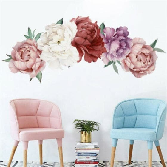 Peony Rose Flower Blossom Wall Stickers Kids Room Baby Nursery Decor Decal