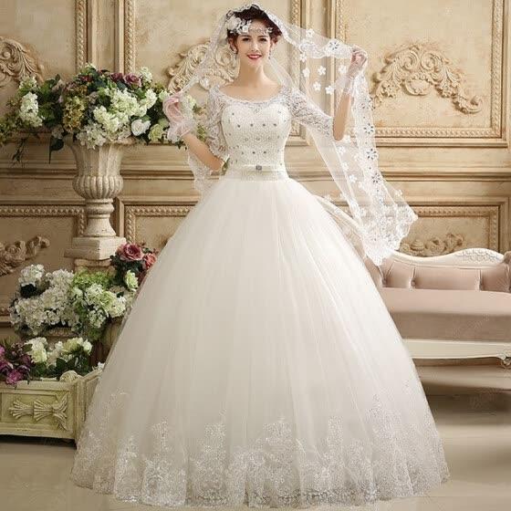 Shop Plentyfunsein Middle Sleeves Wedding Dress Princess Floor