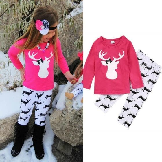 2PCS Baby Kids Girls Set Deer Tops T-shirts+Pants Clothes Outfits Autumn Fit For 1-5Y
