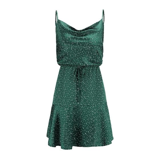 Vintage Green Polka Dot Stain Dress Women Summer Sexy Strap Backless Mini Dress Girl Stylish High Waist Party Dress Vestido