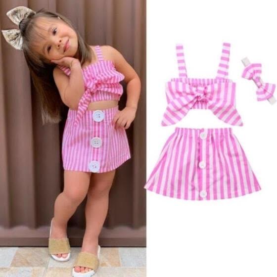 UK STOCK Toddler Kid Baby Girl Off Shoulder Top Stripe Dress Outfits Set Clothes