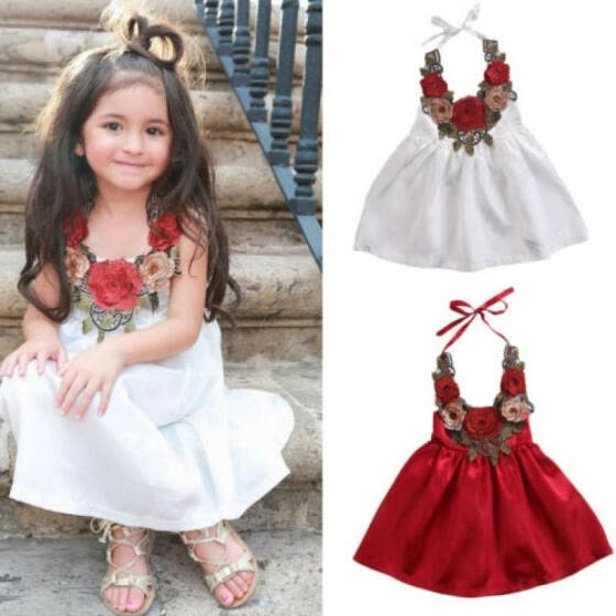 US Summer Toddler Kids Baby Girls Dress Flower Princess Party Dresses
