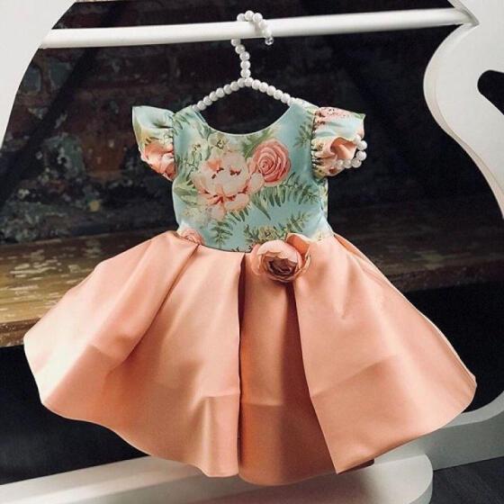 Girl princess wedding tutu flower dress party bridesmaid formal kid baby dresses