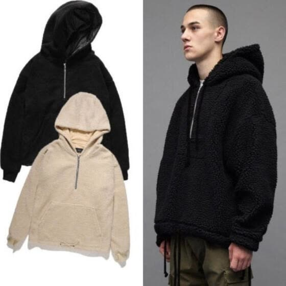 Men Winter Zipper Fleece Hoodie Warm Pullover Hooded Sweatshirt Coat Outwear
