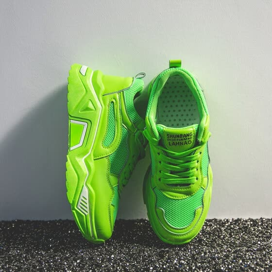 Green Torre Shoe Women 2019 New Summer Net Red Super Fire ins Tide Sponge Cake Thick Bottom Net Ventilated Sports Shoes