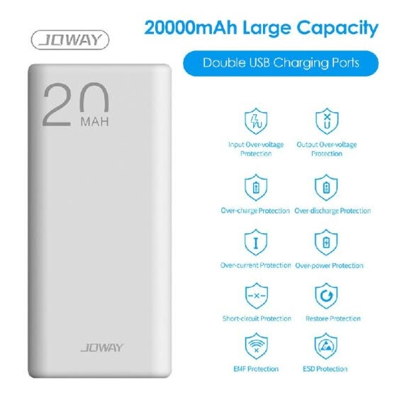 JOWAY Power-Bank with Dual USB Charging Ports 10000mAh/20000mAh Large Capacity Portable Charging Mobile Phone Charger External Bat