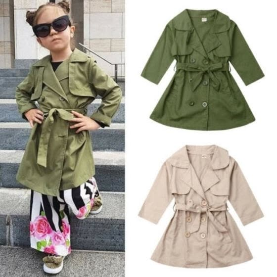 New Girls Long Trench Coat Double Breasted Quilted Button Up Kids Autumn Jackets
