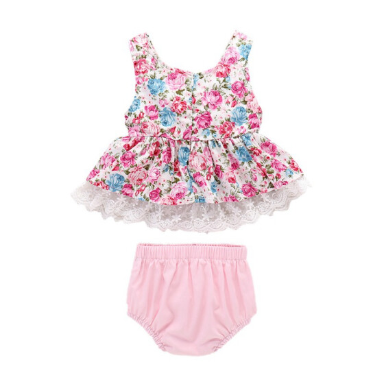 UK 3Pcs Newborn Baby Girl Summer Lace Tops Striped Shorts Briefs Outfits Clothes