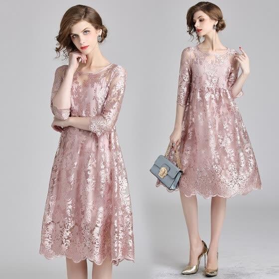 2018 Autumn Mesh Patchwork Lace Dress 2-piece Women O-neck Work Casual Party 979a207c4bdd