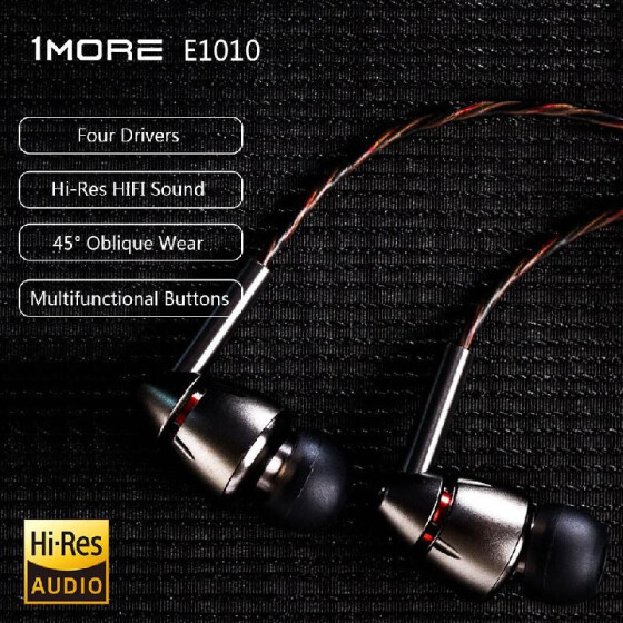 1MORE Quad Driver In-Ear Headphones Earphones//Earbuds with Mic and Remote
