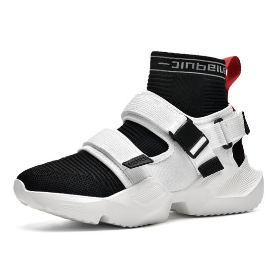 Men's shoes, fashion stretch cloth, flying woven running shoes, high-top sneakers, Velcro socks, tide shoes