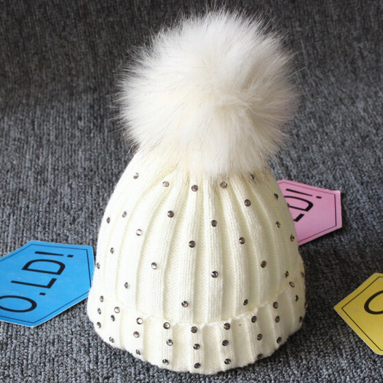 Children Kids Baby Beanie Knittd Hat Warm Ski Winter Autumn Double Pompom Cap
