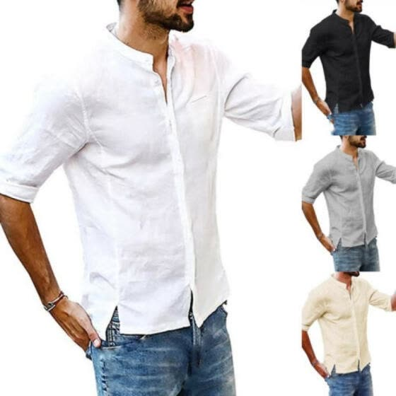 Fashion Mens Cotton Linen Tops Long Sleeve Casual Slim Fit Shirt V-Neck T-shirts