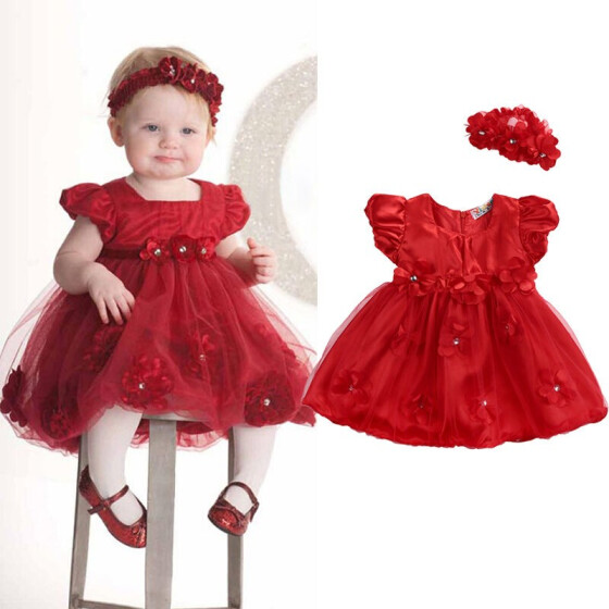 Newborn Toddler Baby Girls Floral Princess Tutu Dress Wedding Party Pageant Gown