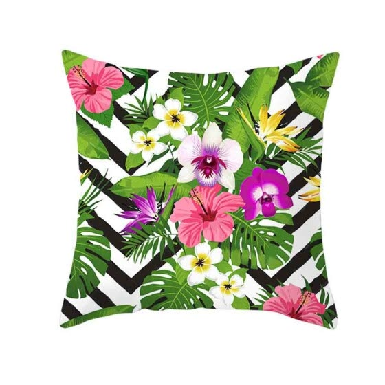 Siaonvr Green Leaf Printed Pillow Case Polyester Sofa Car Cushion Cover Home Decor
