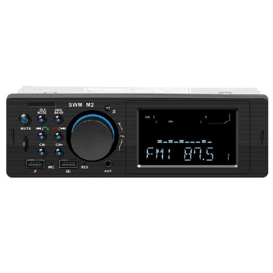 SWM M2 Bluetooth Car Stereo Car Audio FM Radio 60W Output MP3 Player Support USB TF Card Slot 3.5mm AUX Hands-free Call with Mic W