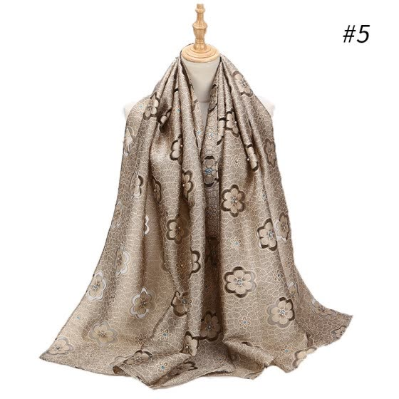 Cut flower scarf new flower gold silk scarf soft organza fashion headscarf travel sunscreen shawl