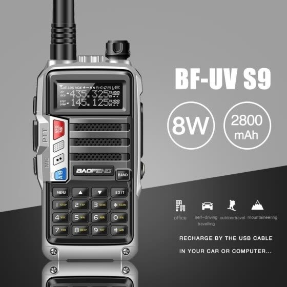 Hot Sale New BAOFENG BF-UVS9 8W CB Radio 10 KM 3800mAh Long Range Powerful Walkie Talkie Transmitter Transceiver +speaker Mic+USB