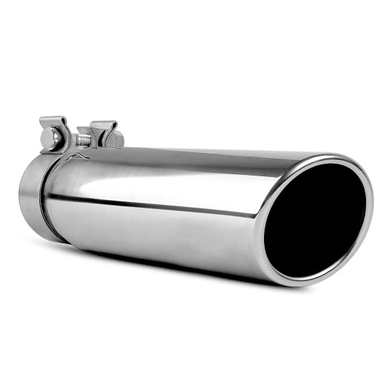 """2.5/"""" Inlet 3/"""" Outlet 12/"""" Long Rolled End Angle Cut Exhaust Tip Tail Pipe S//S"""