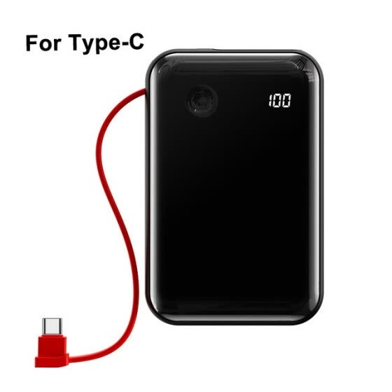 Baseus Mini 3A Power Bank 10000mAh Built-in USB Cable Digital Daisplay Powerbank 15W Battery Charger For  iPhone Samsung