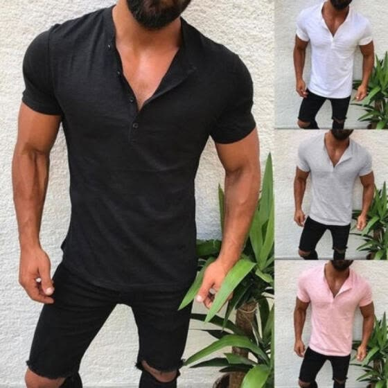 4 Colors Mens Stylish Casual T-Shirts Slim Fit Short Sleeve Shirt Tops M-2XL
