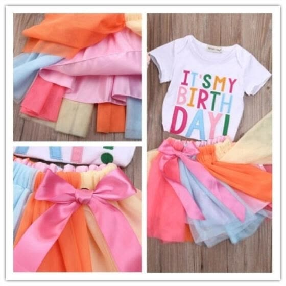 New Cute Rainbow Girl Princess Dress Kids Birthday Party Wedding Pageant Tutu Dresses