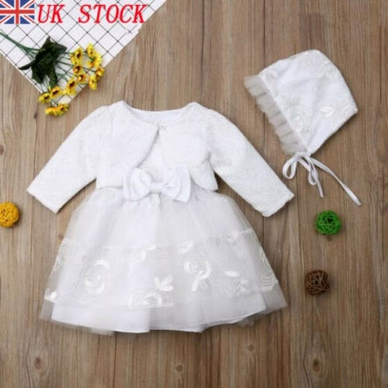 3pcs Baby Girls Princess Dress Lace Christening Wedding Party Dresses Clothes UK