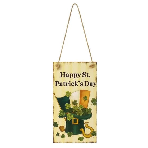 Happy St. Patrick Day Wooden Hanging Board Massage Writing Plaque Reminder