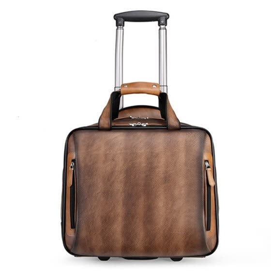 Retro genuine leather men trolley case business wheel suitcase bag cowhide first layer of travel handbag man luggage laptop bags