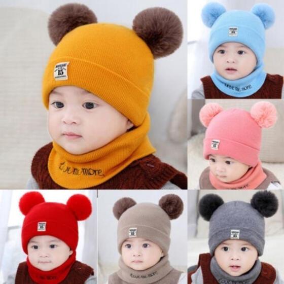 Kids Baby Beanie Hat Cap Boys Girls Winter Warm Faux Fur Pom Pom Knitted Bobble