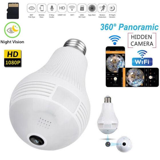 1080P 360 Panoramic Hidden Wifi IP HD Camera Light Bulb Home Security Lamp Cam