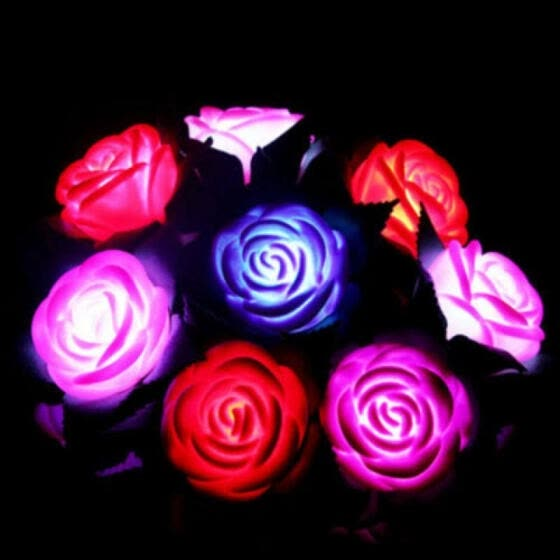 Rose LED Lamp Flower Night Lights Yard Outdoor Garden Path Lawn Power Decor Gift