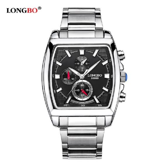 LONGBO Brand Fashion Quartz Casual Wristwatch Luxury Rectangle Watches Men Alloy Strap Watches Male Military Watch 80009
