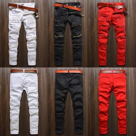 Mens Fashion Ripped Jeans Pants Biker Skinny Slim Straight Denim Trousers(Colors:Black/White/Red)