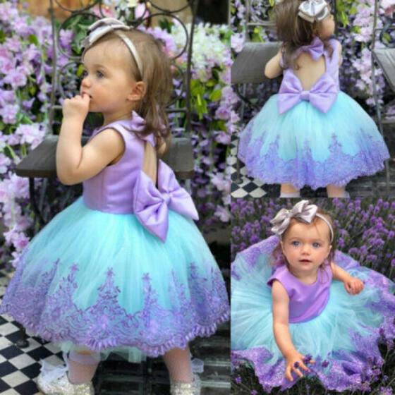 Dresses Formal Lace Princess Kid Baby Tutu Dress Girl Party Bridesmaid Flower
