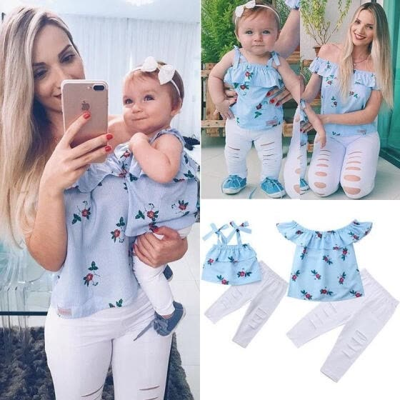 2018 Family Match Women Kids Girl Party Formal Flowers Sleeveless top pant Sunsuit