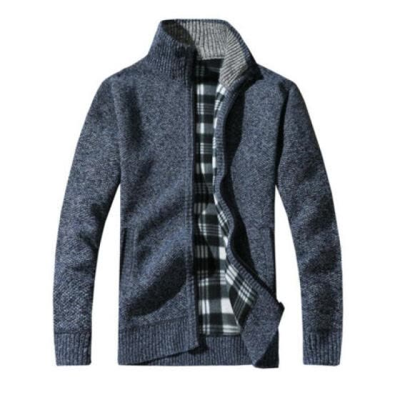 Hot Mens Winter Warm Slim Sweater Knitted Cardigan Jumper Zip Fleece Lined Coat