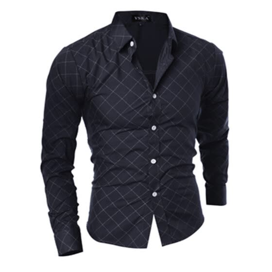 New Classical Lingerie Quilted Design Men\'s Casual Slim Long-Sleeve Shirt