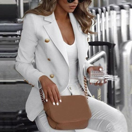 Women Long Sleeve Slim Fit Blazer Suit Ladies Formal Business Coat Duster Jacket