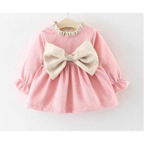 Newborn Kid Baby Girl Long Sleeve Bowknot Princess Party Dress Winter Warm Clothes